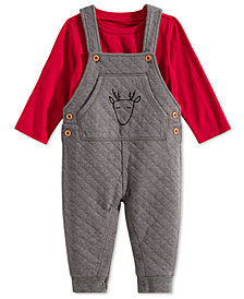 First Impressions Baby Boys 2-Pc. Quilted Reindeer Overalls & T-Shirt Set, Created for Macy's