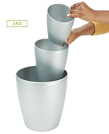 Mind Reader 3 pc Office Set Bin Set - Desktop and Bath Bin Set, Silver