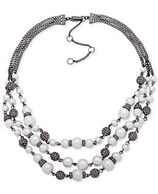 "Givenchy Hematite-Tone Imitation Pearl & Pavé Bead Multi-Srand Collar Necklace, 16"" + 3"" extender"