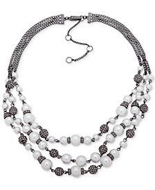 "Givenchy Hematite-Tone Imitation Pearl & Pavé Bead Multi-Srand Collar Necklace, 16"" + 3"" extender"