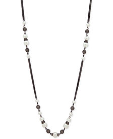 "Givenchy Hematite-Tone Imitation Pearl & Pavé Bead 42"" Statement Necklace"