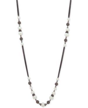 "Hematite-Tone Imitation Pearl & Pave Bead 42"" Statement Necklace"