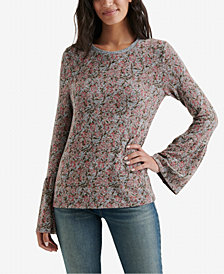 Lucky Brand Printed Bell-Sleeved Top