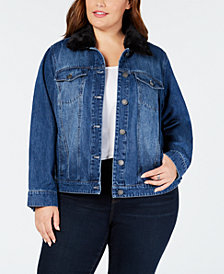 Style & Co Plus Size Faux-Fur Collar Denim Jacket, Created for Macy's