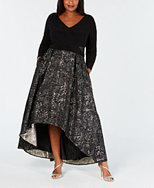 XSCAPE Plus Size Metallic Mesh-Trim High-Low Gown