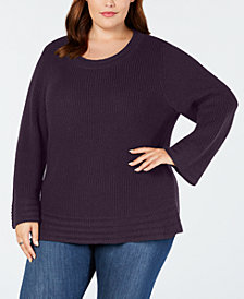 Style & Co Plus Size Lantern-Sleeve Contrast-Stitch Sweater, Created for Macy's