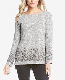 Karen Kane High-Low Lace-Print Knit Top