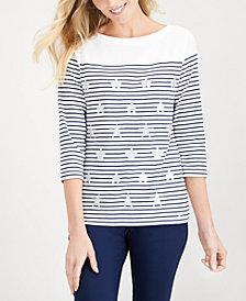 Karen Scott Embellished Printed Cotton T-Shirt, Created for Macy's