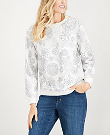 Karen Scott Medallion Print Sweatshirt, Created for Macy's