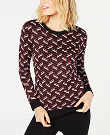 MICHAEL Michael Kors Chevron Jacquard-Knit Sweater, in Regular and Petite Sizes