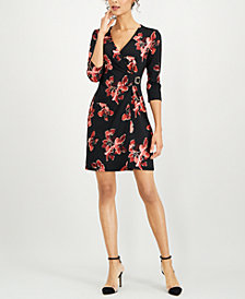 Connected Petite Floral Faux-Wrap Dress