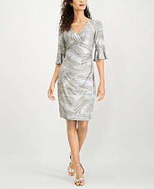 Connected Ruffle-Sleeve Wrap Dress