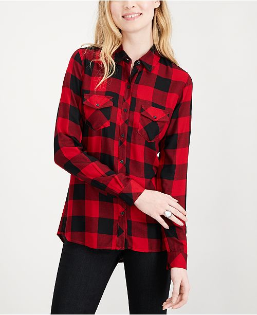 54d3c1e7 Maison Jules Buffalo Plaid Shirt, Created for Macy's & Reviews ...