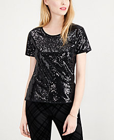 Maison Jules Sequin T-Shirt, Created for Macy's