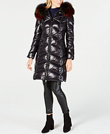 1 Madison Expedition Fox-Fur-Trim Hooded Down Coat