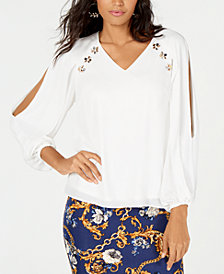 Thalia Sodi Rhinestone-Embellished Split-Sleeve Top, Created for Macy's