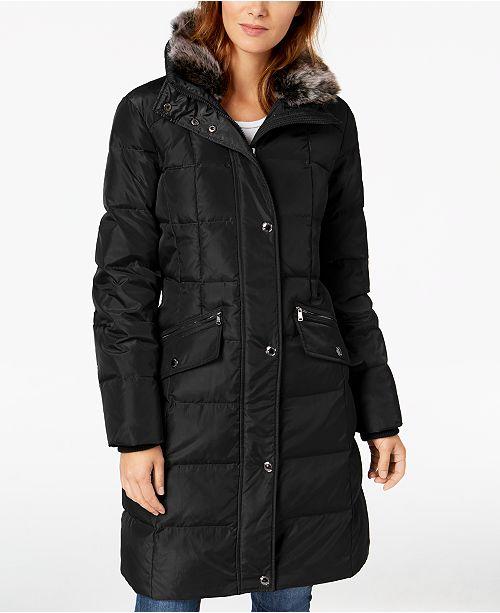 London Fog Hooded Faux-Fur-Trim Down Puffer Coat