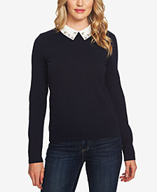 CeCe Cotton Embellished-Collar Sweater