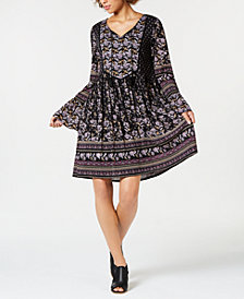 Style & Co Petite Mixed-Print Bell-Sleeve Dress, Created for Macy's