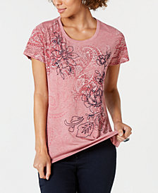 Style & Co Rose Paisley Graphic T-Shirt, Created for Macy's