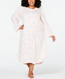 Miss Elaine Plus Size Long Printed Knit Gown