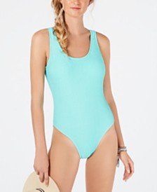 Hula Honey Juniors' Pucker Up Textured High Leg One-Piece Swimsuit, Created for Macy's
