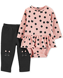 Carter's Baby Girls 2-Pc. Cotton Cat-Print Peplum Bodysuit & Cat Pants Set