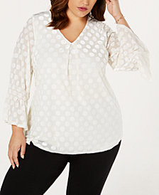 Alfani Plus Size Velvet Burnout Top, Created for Macy's