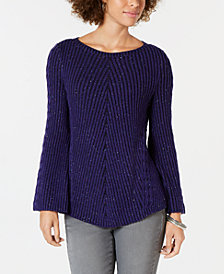 Style & Co Petite Sparkle-Knit Ribbed Sweater, Created for Macy's