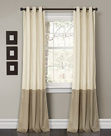 "Prima Velvet Color Block 84"" x38"" Room Darkening Window Curtain Set"