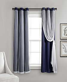 "Lush Décor 63""x38"" Grommet Sheer Panels with Insulated Blackout Lining"