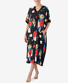Ellen Tracy Flower-Print Long Caftan