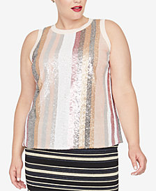 RACHEL Rachel Roy Trendy Plus Size Sequined Tank Top