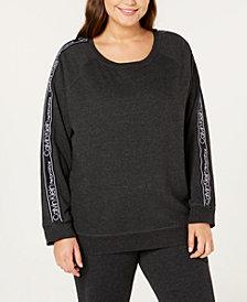 Calvin Klein Performance Plus Size Raglan-Sleeve Logo Fleece Top