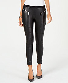 MICHAEL Michael Kors Faux-Leather Moto Leggings, In Regular & Petite Sizes
