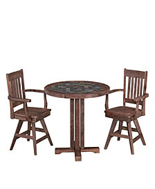 Home Styles Morocco 3PC Round Dining Set (Chairs with Arms)