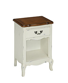Home Styles The French Countryside Oak and Rubbed White Night Stand