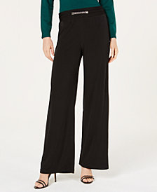 NY Collection Petite Chain-Trim Pull-On Pants