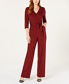 NY Collection Petite Surplice Tie-Waist Jumpsuit