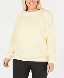 502ab3d355d Alfred Dunner Plus Size Classics Embroidered Layered-Look Sweatshirt