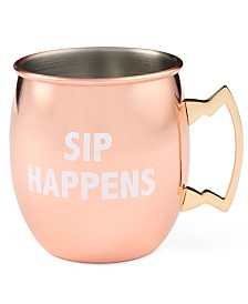CLOSEOUT! Thirstystone  Sip Happens Copper Printed Moscow Mule Mug