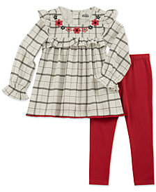 Kids Headquarters Baby Girls 2-Pc. Plaid Ruffle-Trim Tunic & Leggings Set