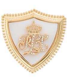 Lauren Ralph Lauren Gold-Tone Pavé & Imitation Mother-of-Pearl Crown Signature Shield Pin
