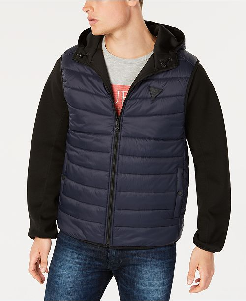 GUESS Men's Reversible Hooded Bomber Jacket with Quilted Faux Vest