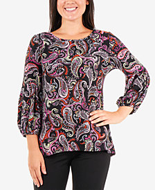 NY Collection Petite Paisley-Print Top