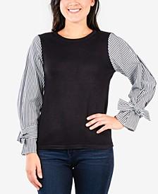 Petites Striped Sleeve Sweater