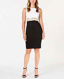 Calvin Klein Metallic Colorblocked Sheath Dress