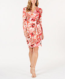 Calvin Klein Printed Faux-Wrap Dress