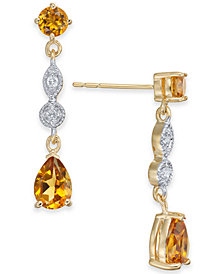 Citrine (1-9/10 ct. t.w.) & Diamond Accent Drop Earrings in 14k Gold