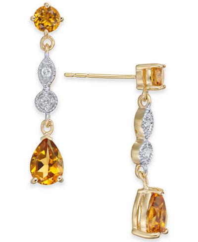 Citrine (1-9/10 ct. t.w.) & Diamond Accent Drop Earrings in 14k Gold